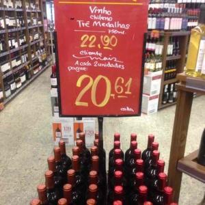 vinho chileno santa rita tres medalhas 750ml por R$20,61 no supermercado pão de açucar goiania-go