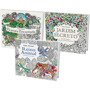 Kit Livros de Colorir: Jardim Secreto + Floresta Encantada + Reino Animal - R$ 18