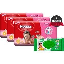 Kit 3 Fraldas Huggies Menino/ Menina + 1 Kit de Toalhas Umedecidas Huggies com 96 unidades - R$130