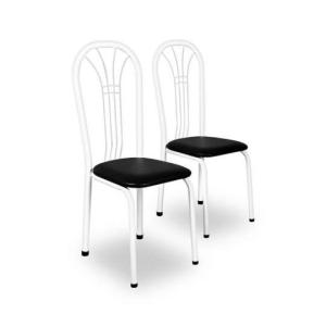 Conjunto 2 Cadeiras III Estofado Preto Tubo Branco por R$ 45