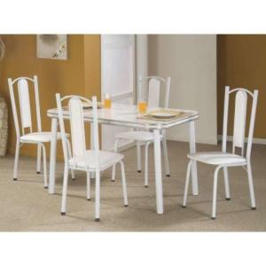 Conjunto de Mesa Bianca com 4 Cadeiras Branco e cinza por R$ 198