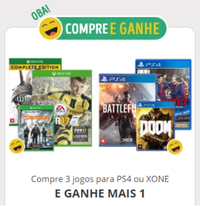 Compre 3 jogos e ganhe o 4°(para PS4 ou XBOX ONE)