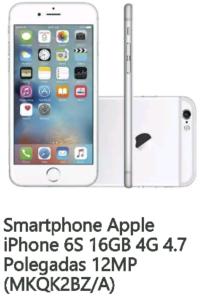 Smartphone Apple iPhone 6S 16GB 4G 4.7 Polegadas 12MP