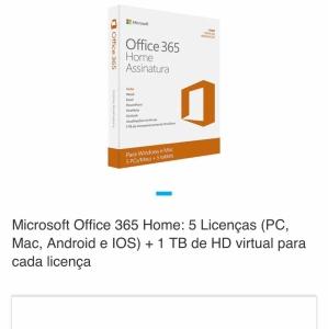 Microsoft Office 365 Home: 5 Licenças - R$80
