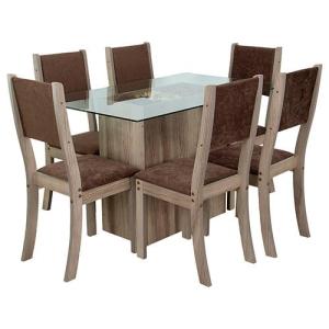 Conjunto de Mesa de Jantar Yellow Fit Carvalho Tampo de Vidro com 6 Cadeiras Fit  - at.home por R$ 530