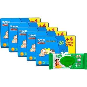 Kit 5 pacotes de fralda Huggies M + 1 pacote lenços umedecidos - R$249,90