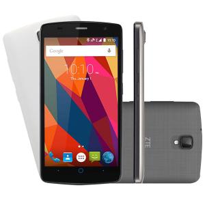 "Smartphone ZTE L5 Shade Desbloqueado Tela 5"" 8GB Câmera Frontal 8mp Dual Chip Android 5.1 Preto Capa Branca"