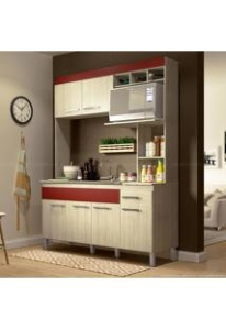 Cozinha Compacta 6 Portas e 1 Gaveta Verona Flex Color Bali/Bordô/Bancoc - Decibal - NO BOLETO