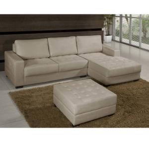 Sofá 3 Lugares American Comfort América + Chaise Lado Direito + Puff - R$999