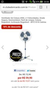 [Clube do Ricardo] VENTILADOR DE COLUNA por R$60