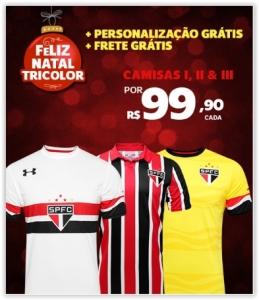 Camisa Under Armour São Paulo I,II e III 16/17 s/nº por R$ 100