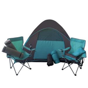 Kit para Camping Importado com 1 Tenda, 2 Cadeiras, 2 Travesseiros, 2 Sacos de Dormir, 2 Tapetes e 1 Lanterna - Verde (R$237,40)