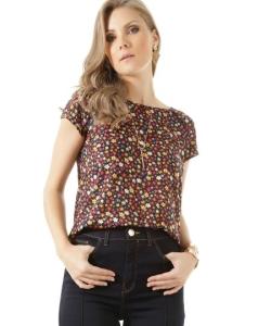 Blusa Estampada Floral Preta por R$ 60