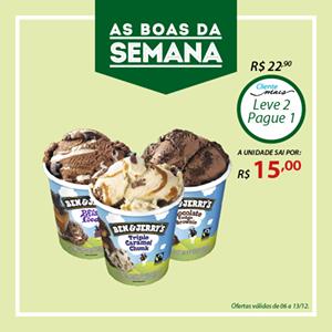 [São Paulo] Dois Sorvetes Ben & Jerry de 458 ml por R$ 30