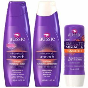 Kit Aussie Smooth: Shampoo 400ml + Condicionador 400ml + Tratamento 3 Minutes Miracle 236ml