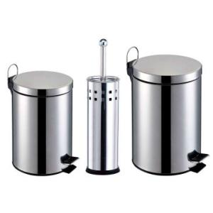 Kit Banheiro 3 Peças: Lixeiras Inox (3L e 5L) + Escova Sanitária - R$69