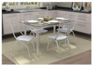 Conjunto de Mesa com 4 Cadeiras Crome Cromado e Branco