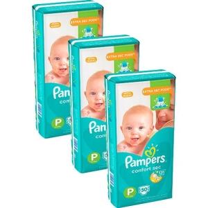 Fralda Pampers Confort Sec P,M,G,XG e XXG - R$90