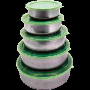 Conjunto de Potes Aço Inox com Tampa de Plástico 5 Peças - Casita - R$12