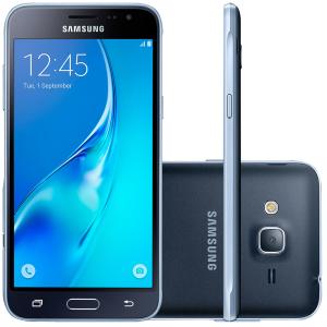 "Smartphone Samsung Galaxy J3 Desbloqueado Tela 5"" 8GB 4G Dual Chip Câmera Frontal Android 5.1 - R$ 530,10"
