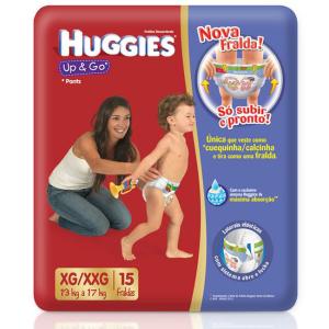 HUGGIES Leve 2 Pague 1 Pacote de Fralda com 15 Unidades Cada Up & Go Jumbo XG/XXG Huggies