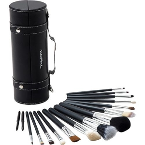 Estojo De Pincéis Para Maquiagem 16 Pincéis Preto - New Me! R$ 69,99