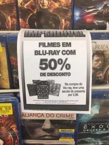 Blu-rays com 50% de desconto nas Lojas Americanas (Loja Física)