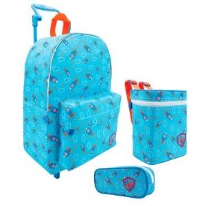 Mochilete Foguetes  com 2 Rodas Azul + lancheira + estojo  - R$81
