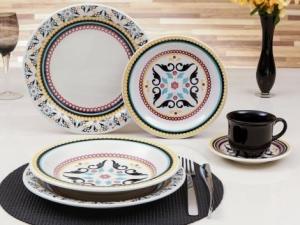 Aparelho de Jantar Chá 30 Peças Oxford - Cerâmica Redondo Colorido Floreal Luiza - R$199