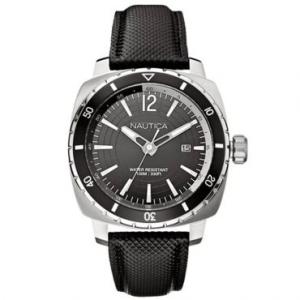Relógio Masculino Analógico Nautica, Pulseira de Couro Preta, Com Calendário por R$ 285