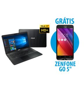 """Notebook X751LJ-TY386T + Zenfone Go 5"""" 1GB/8GB Branco por R$2699"""