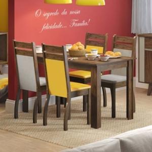 Conjunto Sala de Jantar com 4 Lugares Nelly Suéde- Pérola Mades por R$ 486
