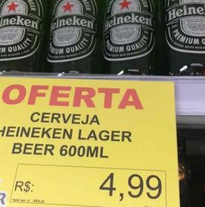 Heineken 600ml - R$4,99