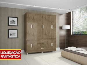 Guarda-roupa Casal 10 Portas 3 Gavetas - Araplac Rusti  por R$ 275