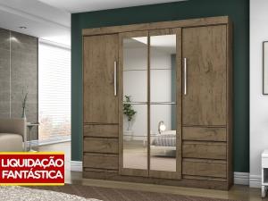 Guarda-roupa Casal 4 Portas 6 Gavetas - Araplac Linea com Espelho  por R$ 522