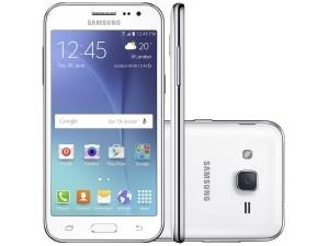 "Smartphone Samsung Galaxy J2 Duos 8GB Branco - Dual Chip 4G Câm 5MP Tela 4.7"" Desbl. por R$ 558"