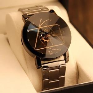 Gear Geometric Steel Band Quartz Watch  -  BLACK  por R$ 12