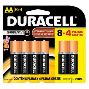 Pilha alcalina Duracell AA leve 12 pague 8 - R$24,10 + Frete grátis