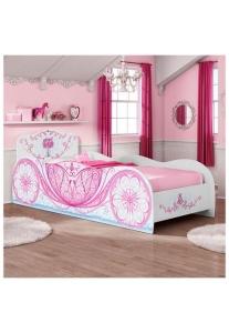 Cama Carruagem Branca e Rosa Móveis - R$ 314,90