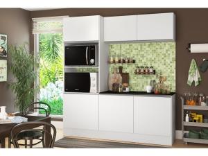 Cozinha Compacta com Balcão Multimóveis Linea - Nicho para Forno Micro-ondas 6 Portas - R$ 522,41