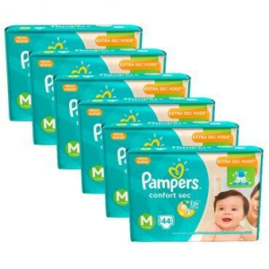 6 Pacotes de Fralda Pampers Confort Sec M - 264 Unidades por R$212 (frete grátis)