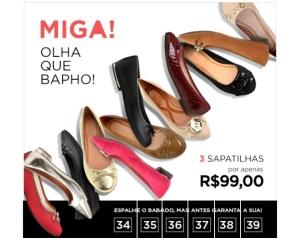 3 pares de sapatilhas por R$99,00