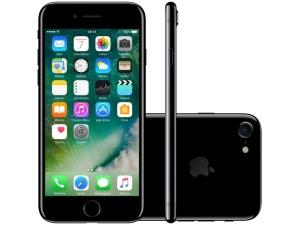 "iPhone 7 Apple 128GB Preto Brilhante 4G 4,7""Retina - Câm. 12MP + Selfie 7MP iOS 10 (Resistente a àgua)"