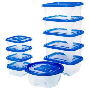 Conjunto de Potes 10 peças com Tampas - R$13,41