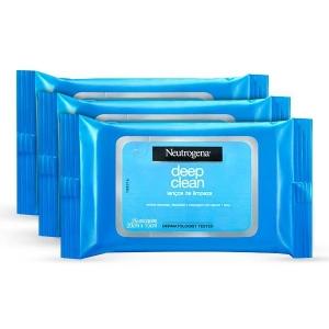 Kit c/ 3 Lenços de Limpeza Facial Neutrogena Deep Clean (25 unidades cada) por R$45