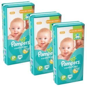 3 pacotes de Fralda Pampers Confort Sec  P/M/G a partir de R$ 90