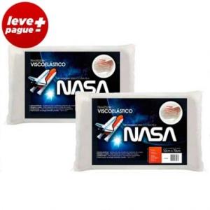 Kit 2 Travesseiros Viscoelástico - Tecnologia da Nasa com Revestimento em Malha - Fibrasca R$60