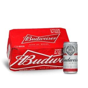 COMPRANDO 3, VOCÊ PAGA 2! Cerveja Budweiser Lata 269ml Caixa com 08 Unidades por R$ 46
