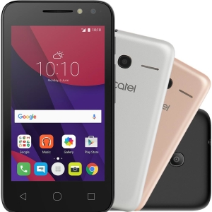 "Smartphone Alcatel PIXI4 Metallic Dual Chip Android 6.0 Tela 4"" Memória 8GB 3G Câmera 8MP Selfie 5MP Flash Frontal Quad Core - Preto - R$253"