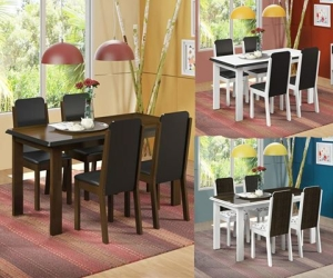 Mesa de Jantar com 4 Cadeiras Débora por R$ 370